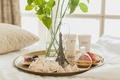 Картинка утро, графин, окно, Париж, подушка, печенье, поднос, пирожное, завтрак