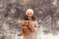 Картинка девочка, Lorna Oxenham, снег, Winter Beauty, прелесть, мишка