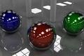 Картинка красный, отражение, сферы, фон, шары, синий, зелёный
