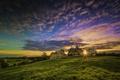 Картинка поле, церковь, небо, трава, облака, закат