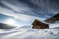Картинка небо, дом, снег, горы