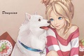 Картинка собака, ошейник, девушка, dong xiao, арт