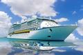 Картинка корабль, отражение, лайнер, море, большой, небо, белоснежный, круизный, облака