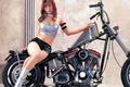 Картинка Девушка, мотоцикл, взгляд