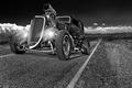 Картинка дорога, ретро, фары, классика, передок, hot-rod, classic car