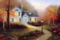 Картинка осень, свет, дым, картина, фонарь, живопись, коттедж, Thomas kinkade, кинкейд