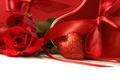 Картинка праздник, роза, rose, сердечко, бантик, heart, ленточка, Valentine's day, holiday, bow, ribbon, день святого Валентина
