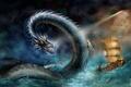 Картинка море, корабль, шторм, нападение, змей, морской