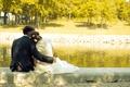Картинка пара, жених и невеста, деревья, озеро, любовь