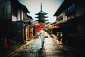 Картинка village, umbrella, car, raining, street, woman