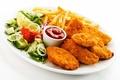 Картинка chicken, лимон, potatoes, lemon, курица, салат, помидор, кетчуп, sauce, картофель фри