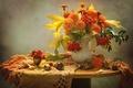 Картинка рябина, осень, каштаны, бархатцы