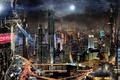 Картинка мегаполис, Луна, футуризм, город, Scott Richard, ночь, будущее, здания, futurism, Coca-Cola, облака, fantasy, megalopolis, реклама, ...