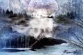 Картинка горы, водопад, деревья, река, пейзаж, art