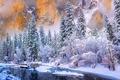 Картинка горы, национальный парк Йосемити, снег, штат Калифорния, зима, скалы, река, лес, США