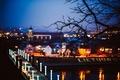 Картинка ветка, мост, дорога, деревья, город, размытость, огни, Литва, дерево, ночь, Lietuva, Каунас, Kaunas