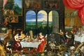 Картинка картина, жанровая, Ян Брейгель старший, Пять Чувств. Вкус. Слух и Осязание