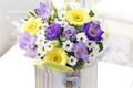 Картинка flowers, букет, хризантемы, герберы, розы, эустома