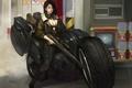 Картинка motorcycle, sniper, арт, куртка, винтовка, cyberpunk, мотоцикл, наушники, art, girl, рисунок, девушка, by Namgwon Lee, ...