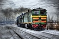 Картинка зима, hdr, железная дорога, локомотив