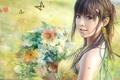 Картинка Цветы, букет, рисунок, бабочки,  i-chen lin