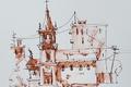 Картинка рисунок, краски, город, акварель