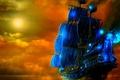 Картинка луна, вода, корабли, ночь, небо, огонь
