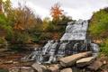 Картинка осень, небо, облака, деревья, камни, водопад, каскад