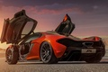 Картинка McLaren, фон, вид сзади, суперкар, концепт, оранжевый, МакЛарен, Concept, двери