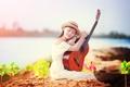 Картинка гитара, девушка, музыка