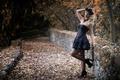 Картинка осень, девушка, лицо, волосы, платье, ножки, Deborah