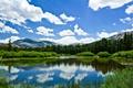 Картинка зелень, лето, небо, облака, горы, озеро, весна