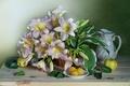 Картинка цветы, корзина, лилии, фрукты, натюрморт, графин