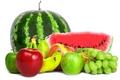 Картинка арбуз, pear, grapes, apples, bananas, fruits, watermelon, ягоды, berries, белый фон, фрукты, груша, яблоки, виноград, ...