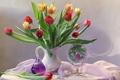 Картинка букет, духи, зеркало, тюльпаны
