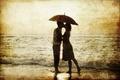 Картинка море, девушка, ретро, босиком, зонт, сепия, пара, прибой, мужчина, влюблённые