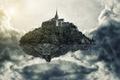 Картинка летающий, в небе, высота, остров, арт, облака, замок