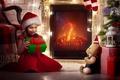 Картинка девочка, подарок, gift, New Year, Christmas, toy, child, Новый год, Рождество, камин