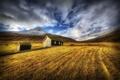 Картинка осень, трава, горы, пейзаж, дом