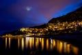 Картинка ночь, Cap-d ail, гора., Кап-д ай, дома, Францыя