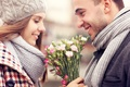 Картинка цветы, Девушка, пара, парень, улыбки