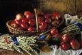Картинка Натюрморт, красные, яблоки, плетёная, корзина