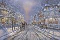 Картинка дорога, улица, Рождество, снеговик, ёлка, живопись, Christmas, Robert Finale, winter, snow, street, painting, snowman, christmas ...