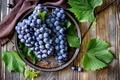 Картинка красный, ягоды, грозди, виноград, тарелка, листья