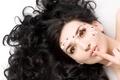 Картинка Волосы, лепестки, портрет