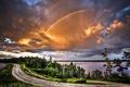 Картинка радуга, деревья, облака, Дорога