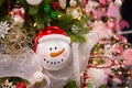 Картинка украшения, игрушки, снеговик, ёлка, мишура