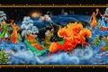 Картинка сани, танцы, Рождество, тройка, Новый год, Палехская миниатюра, Палех, роспись