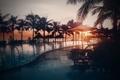 Картинка Закат, Солнце, Небо, Вода, Море, Пляж, Фото, Бассейн, Пальмы
