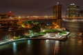 Картинка bridge, New York, мост, Нью-Йорк, city, ночь, night, здания, waterfront, США